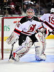 9 January 2010: New Jersey Devils' goaltender Yann Danis warms up prior to a game against the Montreal Canadiens at the Bell Centre in Montreal, Quebec, Canada. The Devils edged out the Canadiens 2-1 in overtime. Mandatory Credit: Ed Wolfstein Photo