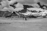 Mormon Row Barn Wide- Grand Tetons, WY - Lensbaby - Infrared Black & White