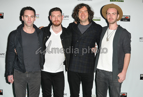 25 February 2016 - Santa Monica, California - Johnny McDaid, Nathan Connolly, Gary Lightbody and Paul Wilson, Snow Patrol. 2016 Oscar Wilde Awards sponsored by the US-Ireland Alliance held at Bad Robot. Photo Credit: Koi Sojer/AdMedia