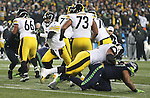 Pittsburgh Steelers quarterback Ben Roethlisberger (7) scrambles against the Seattle Seahawks at CenturyLink Field in Seattle, Washington on November 29, 2015.  The Seahawks beat the Steelers 39-30.      ©2015. Jim Bryant Photo. All Rights Reserved.