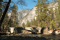 A  stone bridge crosses the Merced River in Yosemite National Park in California November 2008. (Photo Copyright Alan Greth)