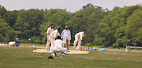 Cricketers play cricket in Van Cortlandt Park in the Bronx in New York on Sunday, June 9, 2013. After a $13 million renovation the Parade Ground in Van Cortlandt Park opened up with 10 cricket pitches, the largest cricket facility in the United States. The new pitches provide better drainage and have been clearly demarcated to regulation size. The Bronx now has a total of 18 cricket pitches followed by Brooklyn with 16 and Queens with 13.(© Richard B. Levine)