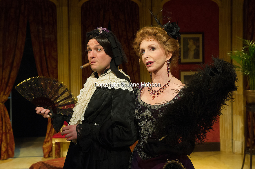 London, UK. 27.09.2012. CHARLEY'S AUNT, by Brandon Thomas, opens at the Menier Chocolate Factory. The production is directed by Ian Talbot. Starring Jane Asher, Matthew Horne and Norman Pace. Picture shows: Matthew Horne (Lord Fancourt Babberley) and Jane Asher (Donna Lucia D'Alvadorez).  Photo credit: Jane Hobson.