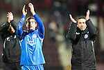Hearts v St Johnstone....11.01.11  Scottish Cup.Peter MacDonald and Derek McInnes celebrates at full time.Picture by Graeme Hart..Copyright Perthshire Picture Agency.Tel: 01738 623350  Mobile: 07990 594431