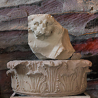 Lion's head and capital found in Petra, from the Petra Archaeological Museum, Petra, Ma'an, Jordan. This carved lion probably originated from the Temple of the Winged Lions, built c. 27 AD, where sculpted lion's heads adorned the tops of the capitals. Petra was the capital and royal city of the Nabateans, Arabic desert nomads. Picture by Manuel Cohen