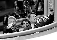 CHICAGO, IL - August 29, 1996: President Bill Clinton and Vice President Al Gore after President Clinton's nomination acceptance speech at the United Center in Chicago, Illinois.