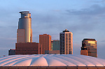 Partial skyline showing the puffy top of the Metrodome
