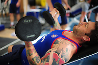 Matt Banahan of Bath Rugby in the gym. Bath Rugby pre-season training on June 21, 2016 at Farleigh House in Bath, England. Photo by: Patrick Khachfe / Onside Images