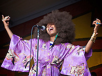 American soul singer and songwriter Erykah Badu performing on the Congo Square stage at the New Orleans Jazz and Heritage Festival at the New Orleans Fair Grounds Race Course in New Orleans, Louisiana, USA, 25 April 2009.