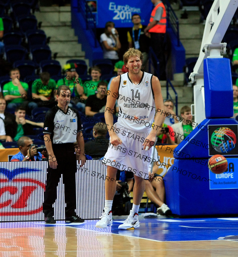 Dirk Nowitzki during round 2, group E, basketball game between Germany and Spain  in Vilnius, Lithuania, Eurobasket 2011, Wednesday, September 7, 2011. (photo: Pedja Milosavljevic)