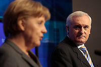 14/4/08 German Chancellor Angela Merkel at a press conference with Bertie Ahern at Govtment buildings. Picture:Arthur Carron/Collins