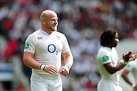 Dan Cole of England looks on during a break in play. Old Mutual Wealth Cup International match between England and Wales on May 29, 2016 at Twickenham Stadium in London, England. Photo by: Patrick Khachfe / Onside Images