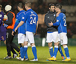 St Mirren v St Johnstone...06.12.14   SPFL<br /> Match winner Michael O'Halloran gets a hug from former buddie Simon Lappin<br /> Picture by Graeme Hart.<br /> Copyright Perthshire Picture Agency<br /> Tel: 01738 623350  Mobile: 07990 594431