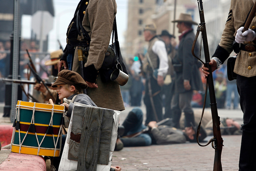 William Waldrip, 7, watches a Battle of Galveston reenactment on the Strand in Galveston, Texas on Sunday, Jan. 15, 2012. The Battle of Galveston Reenactment was part of a series of events marking the 149th anniversary of the Civil War Battle of Galveston, in which Confederate troops regained control of Galveston Harbor.