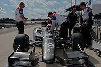 20-21 Febuary, 2012 Birmingham, Alabama USA.Dale Coyne crewmen assist Justin Wilson for a Tuesday test run..(c)2012 Scott LePage  LAT Photo USA