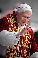 Pope Benedict XVI during   the mass in St.Peter's Basilica to mark the 900th anniversary of the Order of the Knights of Malta,at the Vatican.  on February 9, 2013 .