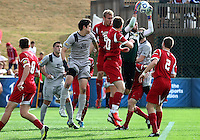 HOOVER, AL - DECEMBER 09, 2012: Luis Soffner (1) of Indiana University saves from Andy Riemer (20) of Georgetown University during the NCAA 2012 Men's College Cup championship, at Regions Park, in Hoover , AL, on Sunday, December 09, 2012.