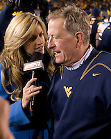 October 23, 2008: ESPN sideline reporter Erin Andrews interviews WVU head coach Bill Stewart after the victory. The West Virginia Mountaineers defeated the Auburn Tigers 34-17 on October 23, 2008 at Mountaineer Field, Morgantown, West Virginia.