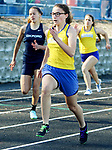 SEYMOUR CT. 18 April 2017-041817SV07-Patricia Jurkowski of Seymour finishes first in the girl&rsquo;s 100-meter dash during NVL track action at Seymour High in Seymour Tuesday.<br /> Steven Valenti Republican-American
