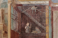 Fresco decoration of a woman on a balcony with her maidservant, on the North wall of the Frigidarium or cold pool of the baths in the Casa del Criptoportico, or House of the Cryptoporticus, Pompeii, Italy. This room is decorated in the Second Style of Pompeiian wall painting, 1st century BC. The house is one of the largest in Pompeii and was owned by the Valerii Rufi family and built in the 3rd century BC. It takes its name from the underground corridor or cryptoporticus used as a wine cellar and lit by small windows. Pompeii is a Roman town which was destroyed and buried under 4-6 m of volcanic ash in the eruption of Mount Vesuvius in 79 AD. Buildings and artefacts were preserved in the ash and have been excavated and restored. Pompeii is listed as a UNESCO World Heritage Site. Picture by Manuel Cohen