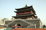 Asia, China, Shaanxi, Xian. One of the gate towers surrounding the walled old town of Xian.