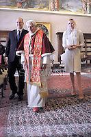 Benedict XVI receives:  Prince Albert II of Monaco and  Princess Charlene. Vatican January 12, 2013