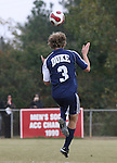 10 November 2007: Duke's Graham Dugoni heads the ball. The Duke University Blue Devils defeated the North Carolina State University Wolfpack 2-0 at Method Road Soccer Stadium in Raleigh, North Carolina in an Atlantic Coast Conference NCAA Division I Men's Soccer game.
