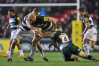 Matt Garvey of Bath Rugby takes on the Leicester Tigers defence. Aviva Premiership match, between Leicester Tigers and Bath Rugby on November 29, 2015 at Welford Road in Leicester, England. Photo by: Patrick Khachfe / Onside Images