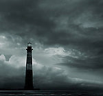 Morris Island Lighthouse at the tip of Folly Beach, SC. The historic Charleston Battery and the Charleston SC Area