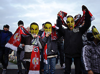 DFB Pokal 2011/12 2. Hauptrunde RasenBallsport Leipzig - FC Augsburg Jugendliche Fans mit Pokal-Shrek Masken.