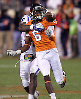 CHARLOTTESVILLE, VA- NOVEMBER 12:  Wide receiver Darius Jennings #6 of the Virginia Cavaliers tries to make a catch in front of safety Matt Daniels #40 of the Duke Blue Devils during the game on November 12, 2011 at Scott Stadium in Charlottesville, Virginia. Virginia defeated Duke 31-21. (Photo by Andrew Shurtleff/Getty Images) *** Local Caption *** Darius Jennings;Matt Daniels