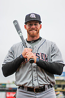 Colorado Springs Sky Sox outfielder Michael Reed (25) poses for a photo prior to a Pacific Coast League game against the Iowa Cubs on May 1st, 2016 at Principal Park in Des Moines, Iowa.  Colorado Springs defeated Iowa 4-3. (Brad Krause/Four Seam Images)