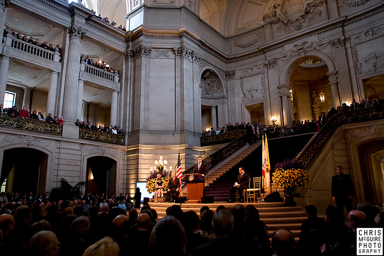 San Francisco Mayor Gavin Newsom addresses a packed house during his second inauguration at San Francisco City Hall on Tuesday, January 8, 2008.