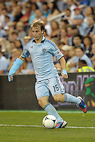 Sporting defender Seth Sinovic  (16) in action..Sporting Kansas City defeated Colorado Rapids 2-0 in Open Cup play at LIVESTRONG Sporting Park, Kansas City, Kansas.