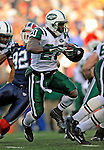 2 November 2008:  New York Jets' running back Thomas Jones (20) in action against the Buffalo Bills at Ralph Wilson Stadium in Orchard Park, NY. The Jets defeated the Bills 26-17 improving their record to 5 and 3 for the season...Mandatory Photo Credit: Ed Wolfstein Photo