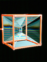 PLATEAU'S BUBBLES (Soap Film Interference)<br /> Cube<br /> Each surface occupies the smallest possible area and connects by the shortest distance possible (&quot;Minimum Surface&quot;). 3 planes of soap meet along any line at an angle of 120&ordm; from each other and 4 lines intersect at any point at an angle of 109&ordm; 28' each.