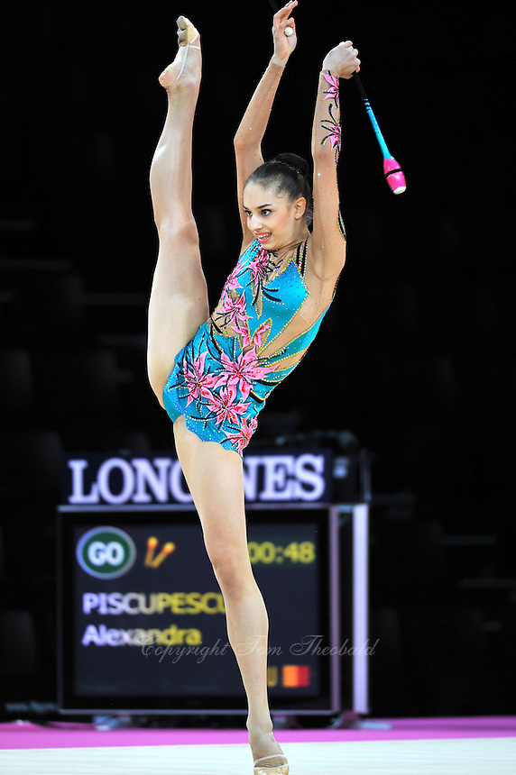 September 21, 2011; Montpellier, France;  ALEXANDRA PISCUPESCU of Romania performs with clubs at 2011 World Championships.