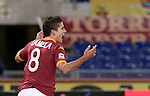 Calcio, Serie A: Roma vs Udinese. Roma, stadio Olimpico, 28 ottobre 2012..AS Roma forward Erik Lamela, of Argentina, celebrates after scoring during the Italian Serie A football match between AS Roma and Udinese, at Rome, Olympic stadium, 28 October 2012..UPDATE IMAGES PRESS/Riccardo De Luca