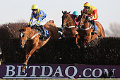 Mud Monkey ridden by Nick Scholfield (L) leads race winner Only Witness ridden by Brendan Powell (R) during the Cogent Ltd John Bigg Oxo Handicap Chase - Horse Racing at Huntingdon Racecourse, Cambridgeshire - 23/02/12- MANDATORY CREDIT: Gavin Ellis/TGSPHOTO - Self billing applies where appropriate - 0845 094 6026 - contact@tgsphoto.co.uk - NO UNPAID USE.