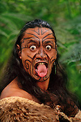 Maori man in kiwi cloak with facial tatoos, Rotorua, New Zealand