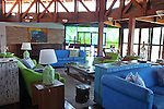 South America, Brazil, Pantanal.  Interior of the main lodge and dining room of Baiazinha Lodge (6 rooms) at the Caiman Ecological Reserve.