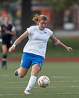 Boston Breakers forward Katie Schoepfer (2) on the attack. In a Women's Premier Soccer League Elite (WPSL) match, the Boston Breakers defeated New England Mutiny, 4-2, at Dilboy Stadium on June 20, 2012.