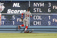 05/13/13 Los Angeles, CA: Washington Nationals right fielder Bryce Harper #34 in a MLB game played between the Los Angeles Dodgers and the Washington Nationals at Dodger Stadium. The Nationals defeated the Dodgers 6-2