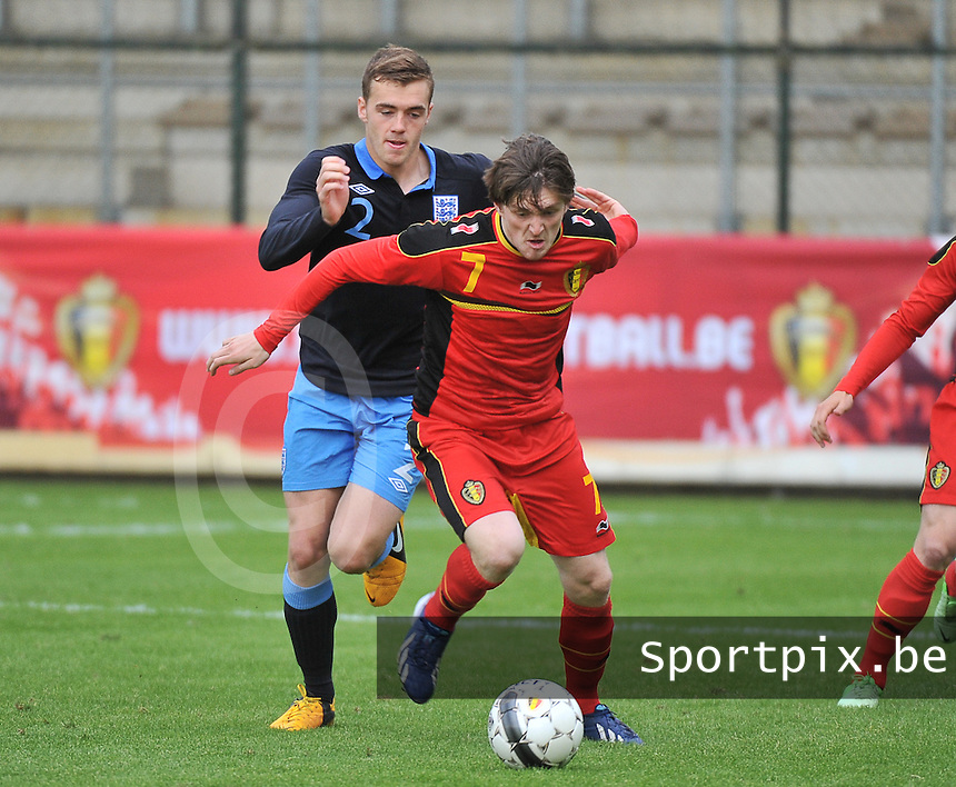 Belgium U19 - England U19 : Thomas Foket (7) and Calum Chambers (2).foto DAVID CATRY / Nikonpro.be