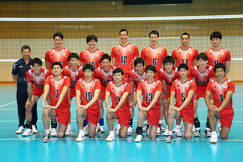 Men's Volleyball Japan National Team Group Line-up (JPN), .May 21, 2013 - Volleyball : .Press Conference of Men's Volleyball Japan National Team .at Ajinomoto NTC, Tokyo, Japan. .(Photo by Daiju Kitamura/AFLO SPORT).