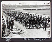 BNPS.co.uk (01202 558833)<br /> Pic: AlexanderHistoricalAuctions/BNPS<br /> <br /> SS soldiers on parade march.<br /> <br /> Chilling early photographs of the Nazi party which show Adolf Hitler basking in the adulation of his fanatical supporters and Jews being persecuted have been unearthed.<br /> <br /> The disturbing images from an SS officer's photo album date from 1931 to 1935 so they cover the period of the Nazis' rise to power and the first two years of the dictatorship.<br /> <br /> The album was recovered by US Army officer Philips Parks Ramsey after the war but his family have now decided to put it up for auction and it is tipped to sell for &pound;1,500 ($2,000).