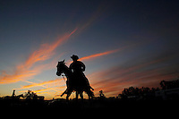 stockman (Australlian Cowboy) is pictured on his horse pratcing lasoo at the Scone rodeo , New South Wales. Australia.Rodeo