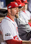 13 October 2016: Washington Nationals third base coach Bob Henley looks out from the dugout prior to Game 5 of the NLDS against the Los Angeles Dodgers at Nationals Park in Washington, DC. The Dodgers edged out the Nationals 4-3, to take Game 5 of the Series, 3 games to 2, and move on to the National League Championship Series against the Chicago Cubs. Mandatory Credit: Ed Wolfstein Photo *** RAW (NEF) Image File Available ***