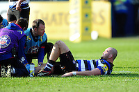 Tom Dunn of Bath Rugby is treated for an injury. Aviva Premiership match, between Bath Rugby and Harlequins on February 18, 2017 at the Recreation Ground in Bath, England. Photo by: Patrick Khachfe / Onside Images