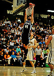 16 January 2012: University of Maine Black Bears' forward/center Mike Allison, a Junior from Lynden, Ontario, in action against the University of Vermont Catamounts at Patrick Gymnasium in Burlington, Vermont. The Catamounts defeated the Black Bears 79-65. Mandatory Credit: Ed Wolfstein Photo
